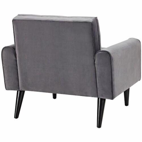 Delve Velvet Armchair - Gray Perspective: top