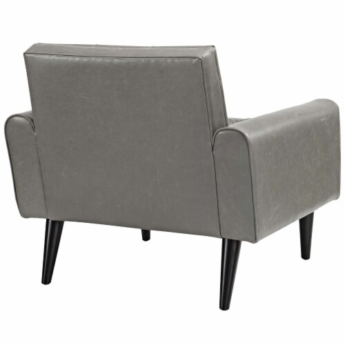 Delve Upholstered Vinyl Accent Chair - Gray Perspective: top