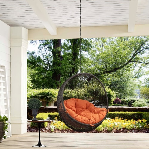 Hide Outdoor Patio Swing Chair Without Stand - Gray Orange Perspective: top