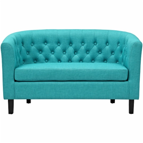 Prospect Upholstered Fabric Loveseat Perspective: top