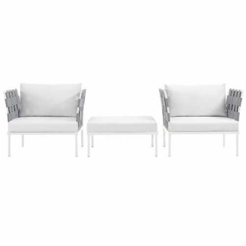 Harmony 3 Piece Outdoor Patio Aluminum Sectional Sofa Set - White White Perspective: top