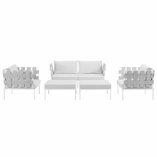 Harmony 5 Piece Outdoor Patio Aluminum Sectional Sofa Set - White White Perspective: top