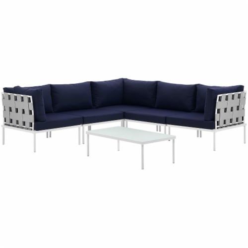 Harmony 6 Piece Outdoor Patio Aluminum Sectional Sofa Set - White Navy Perspective: top
