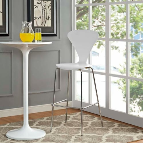 Passage Dining Bar Stool, White Perspective: top
