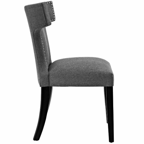 Curve Dining Side Chair Fabric Set of 2 - Gray Perspective: top