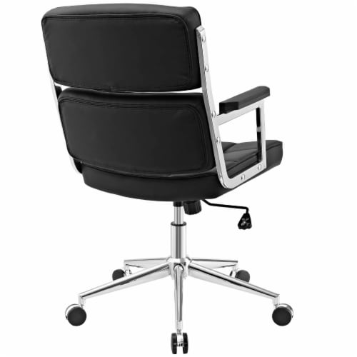 Portray Highback Upholstered Vinyl Office Chair - Black Perspective: top
