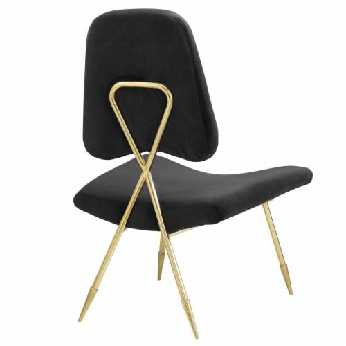 Ponder Upholstered Velvet Lounge Chair, EEI-2809-BLK Perspective: top
