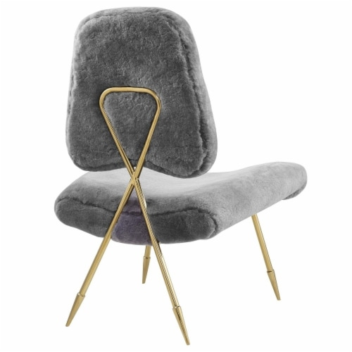 Ponder Upholstered Sheepskin Fur Lounge Chair, EEI-2810-GRY Perspective: top