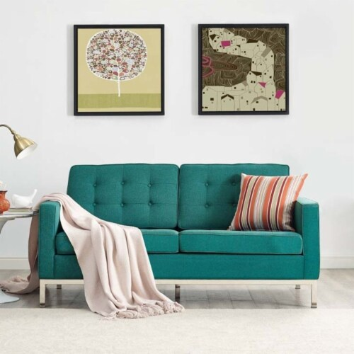 Loft Upholstered Fabric Loveseat Perspective: top