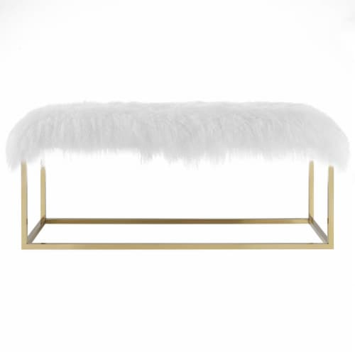 Anticipate White Sheepskin Bench - Gold Perspective: top