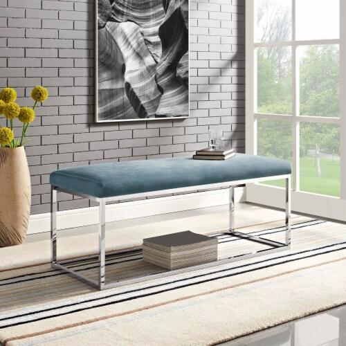 Anticipate Velvet Bench - Sea Blue Perspective: top