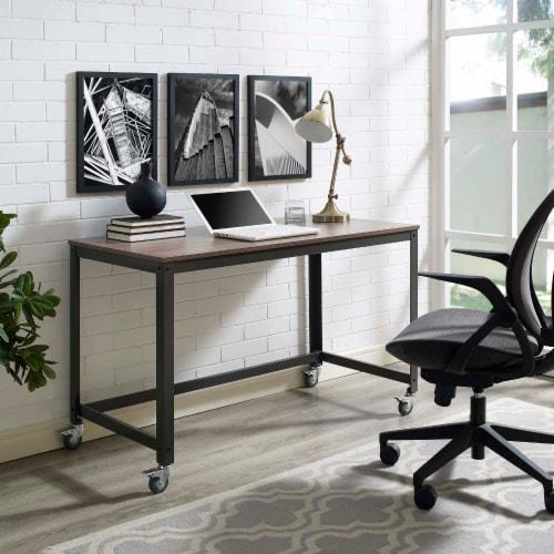 Vivify Computer Office Desk - Gray Walnut Perspective: top