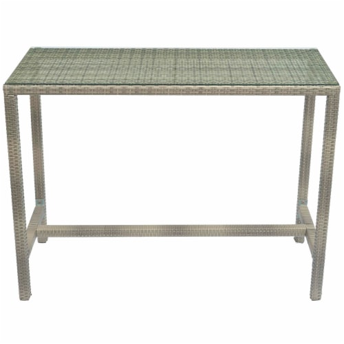 Conduit Outdoor Patio Wicker Rattan Large Bar Table - Light Gray Perspective: top