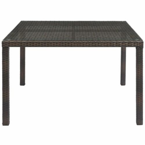 "Conduit 47"" Outdoor Patio Wicker Rattan Dining Table - Brown Perspective: top"