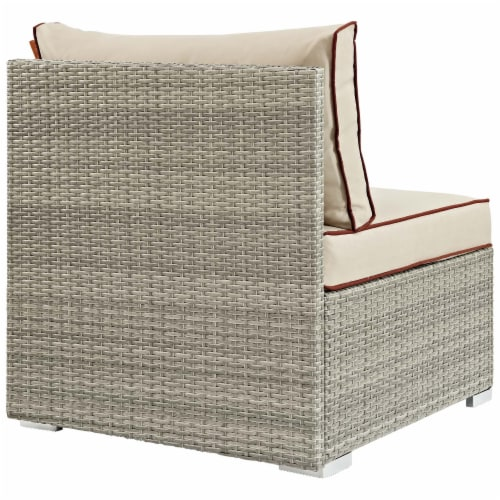Repose Outdoor Patio Armless Chair - Light Gray Beige Perspective: top