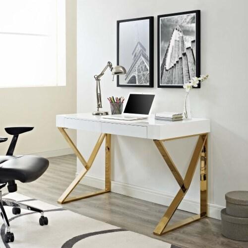 Adjacent Desk - White Gold Perspective: top
