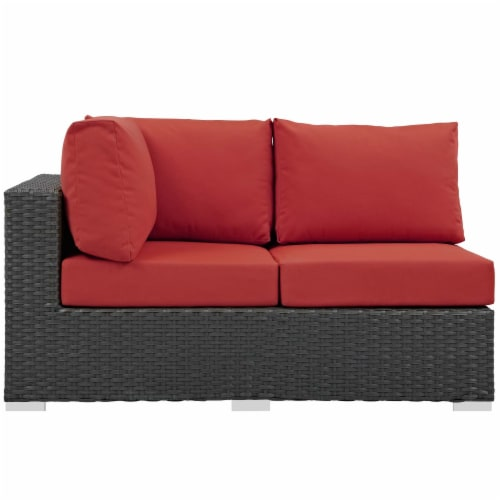 Sojourn Outdoor Patio Sunbrella Left Arm Loveseat - Canvas Red Perspective: top