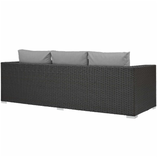 Sojourn Outdoor Patio Sunbrella Sofa - Canvas Gray Perspective: top