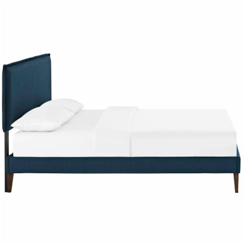 Amaris Queen Fabric Platform Bed with Squared Tapered Legs - Azure Perspective: top