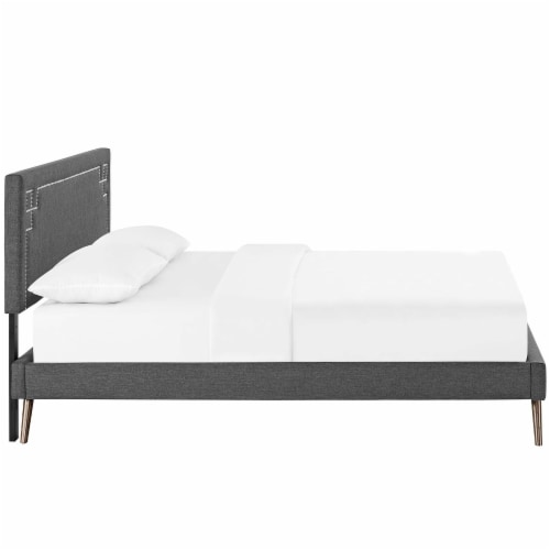 Ruthie Queen Fabric Platform Bed with Round Splayed Legs - Gray Perspective: top
