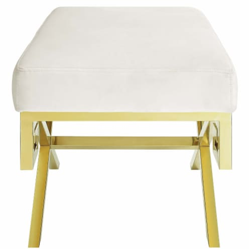 Rove Velvet Bench - Gold Ivory Perspective: top