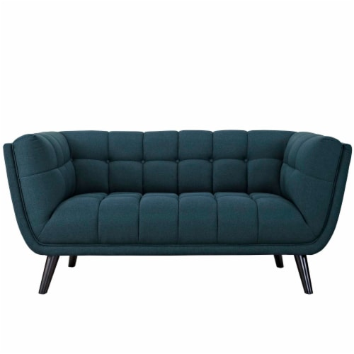 Bestow 2 Piece Upholstered Fabric Loveseat and Armchair Set - Blue Perspective: top