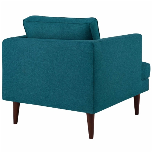 Agile Upholstered Fabric Armchair - Teal Perspective: top