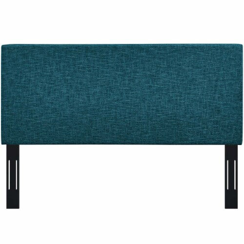 Taylor Full / Queen Upholstered Linen Fabric Headboard - Teal Perspective: top