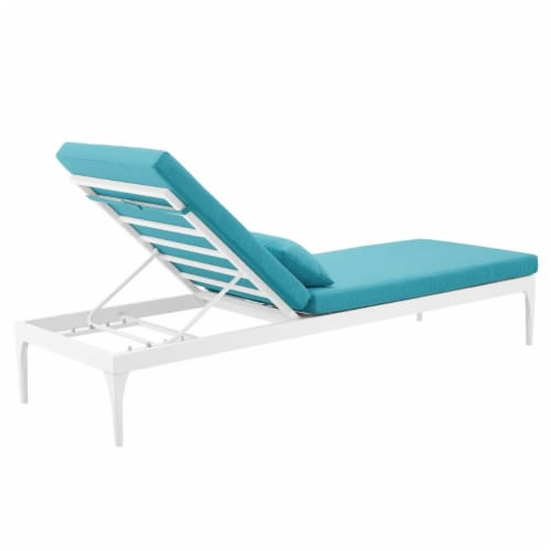 Perspective Cushion Outdoor Patio Chaise Lounge Chair - White Turquoise Perspective: top