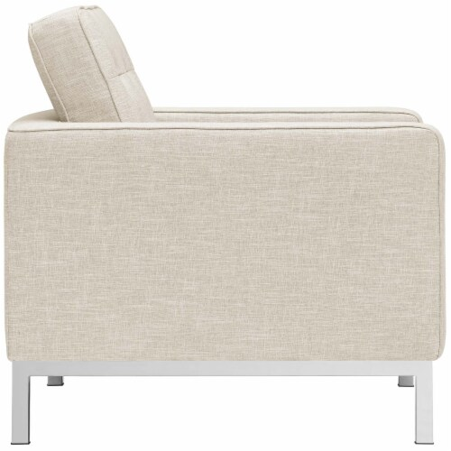 Loft Armchairs Upholstered Fabric Set of 2 - Beige Perspective: top