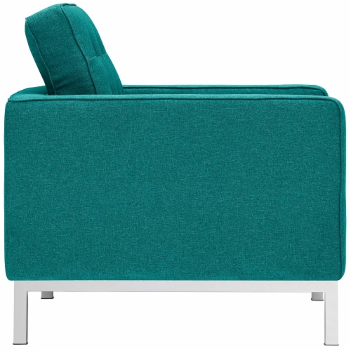 Loft 3 Piece Upholstered Fabric Sofa Loveseat and Armchair Set - Teal Perspective: top