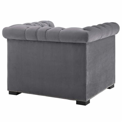 Heritage Upholstered Velvet Armchair - Gray Perspective: top