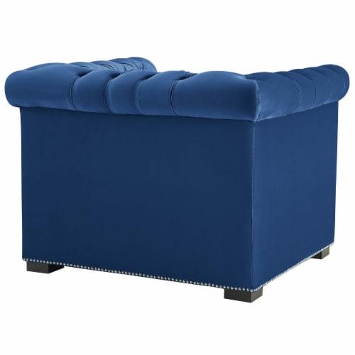 Heritage Upholstered Velvet Armchair - Midnight Blue Perspective: top
