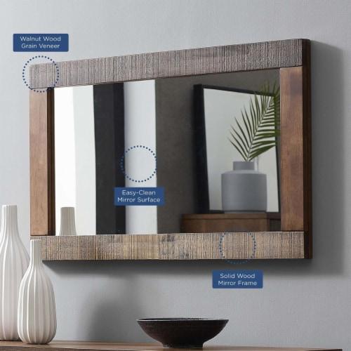 Arwen Rustic Wood Frame Mirror - Walnut Perspective: top
