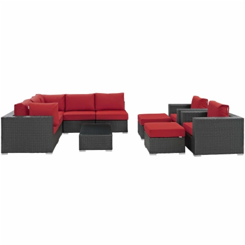 Sojourn 10 Piece Outdoor Patio Sunbrella Sectional Set - Canvas Red Perspective: top