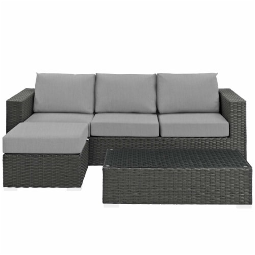 Sojourn 3 Piece Outdoor Patio Sunbrella Sectional Set - Canvas Gray Perspective: top