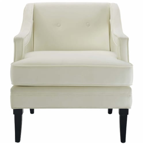 Concur Button Tufted Upholstered Velvet Armchair - Ivory Perspective: top