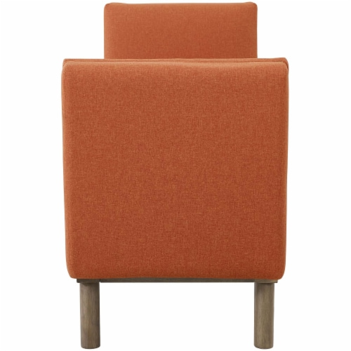 Haven Tufted Button Upholstered Fabric Accent Bench - Orange Perspective: top