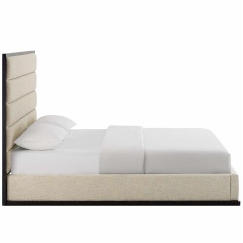 Ashland Queen Upholstered Linen Fabric Platform Bed - Beige Perspective: top