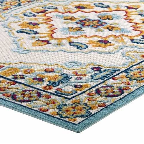 Ansel Floral Persian Medallion 8x10 Indoor and Outdoor Area Rug - Multicolored Perspective: top