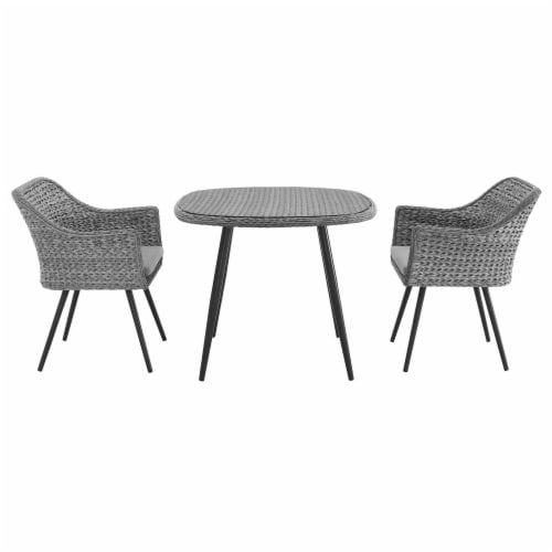 Endeavor 3 Piece Outdoor Patio Wicker Rattan Dining Set - Gray Gray Perspective: top