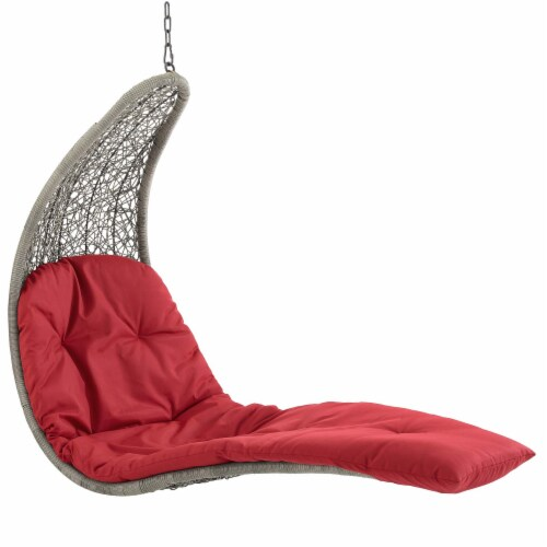 Landscape Hanging Chaise Lounge Outdoor Patio Swing Chair - Light Gray Red Perspective: top