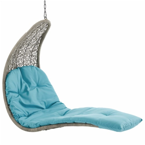 Landscape Hanging Chaise Lounge Outdoor Patio Swing Chair - Light Gray Turquoise Perspective: top
