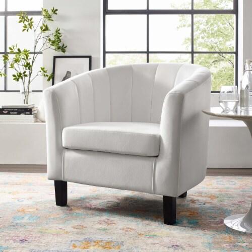 Prospect Channel Tufted Upholstered Velvet Armchair - White Perspective: top