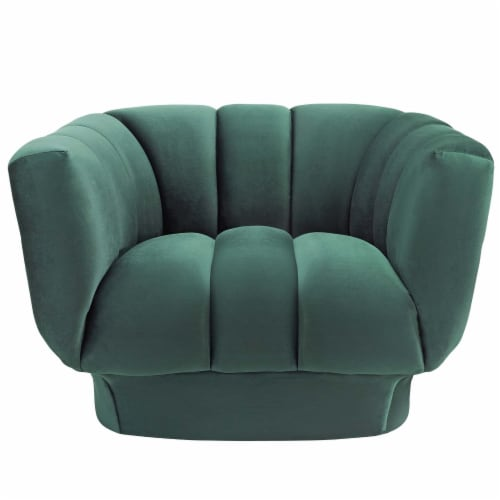 Entertain Vertical Channel Tufted Performance Velvet Armchair - Green Perspective: top