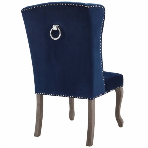 Apprise French Vintage Dining Performance Velvet Side Chair - Navy Perspective: top