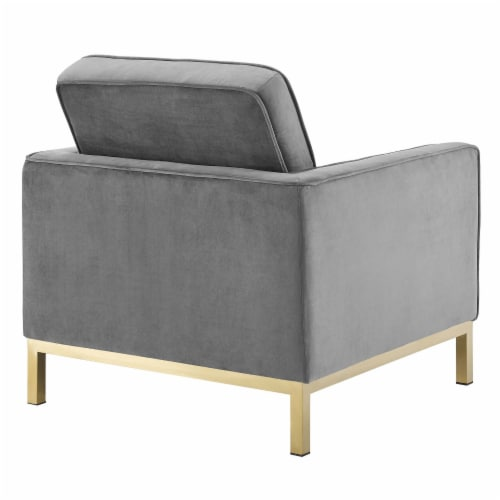 Loft Gold Stainless Steel Performance Velvet Armchair Perspective: top