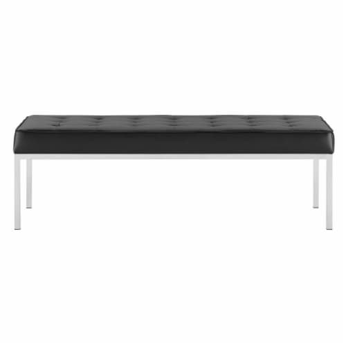 Loft Tufted Large Upholstered Faux Leather Bench Silver Black Perspective: top