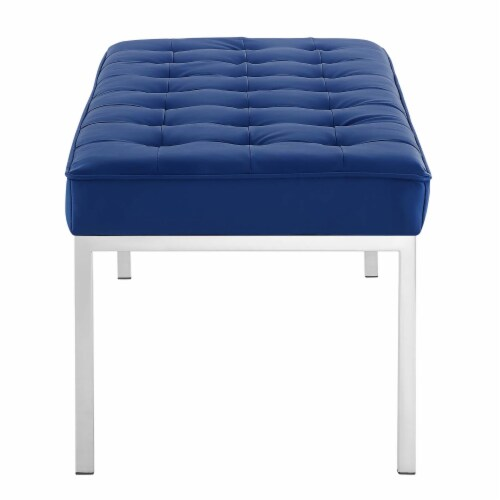 Loft Tufted Large Upholstered Faux Leather Bench Perspective: top