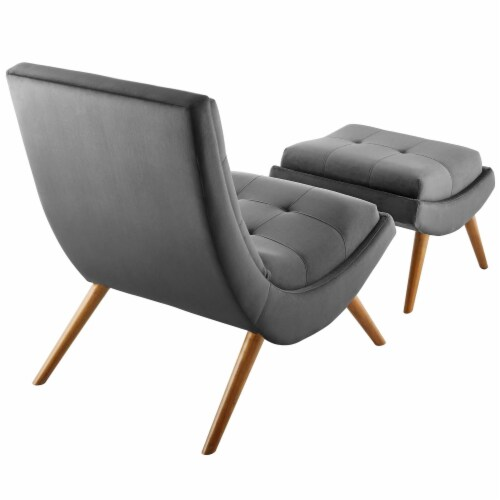 Ramp Upholstered Performance Velvet Lounge Chair and Ottoman Set Perspective: top